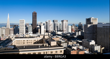The downtown financial district from the Interncontinental Mark Hopkins Hotel, Nob Hill, San Francisco, California, - Stock Photo
