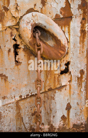 Grytviken, South Georgia Island, UK - Shipwreck Anchor chain - Stock Photo