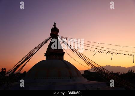 Nepal Kathmandu Valley Boudhanath Bodhnath Stupa - Stock Photo