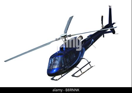 Helicopter landing, isolated on white - Stock Photo