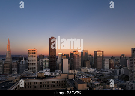 The downtown financial district at sunset from the Interncontinental Mark Hopkins Hotel, Nob Hill, San Francisco, - Stock Photo