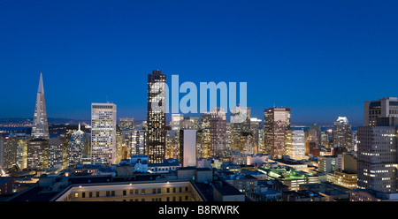 Night view of downtown financial district from the Interncontinental Mark Hopkins Hotel, Nob Hill, San Francisco, - Stock Photo