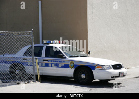 Clearwater police car waiting in alley in downtown Clearwater Florida USA - Stock Photo