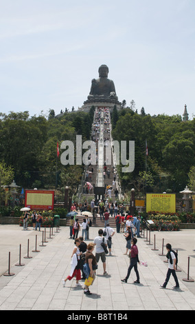 tourists and steps leading Giant Buddha Lantau Island Hong Kong  April 2008 - Stock Photo