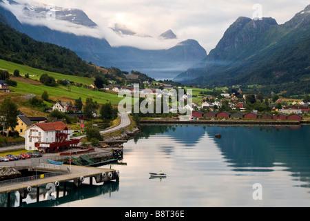 Approach to the port of Olden, Norway - Stock Photo