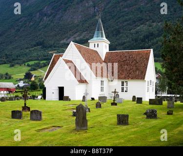 Olden old church (1759), in Olden, Norway - Stock Photo