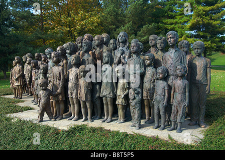 A monument to the lost children - victims of war in the park town of Lidice in the Czech Republic - Stock Photo