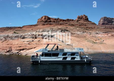 Boat trip on Lake Powell to Rainbow Bridge - Stock Photo