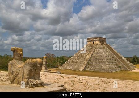 chichen itza El Castillo the castle Maya pyramid from Warriors Temple Chac Mool statue mayan yucatan Mexico mx - Stock Photo