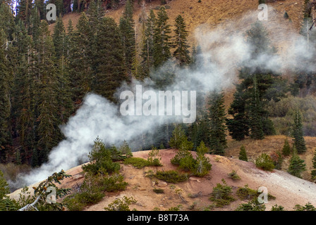 Fumaroles steam vents in Sulphur Works area at Lassen Volcanic National Park California USA - Stock Photo