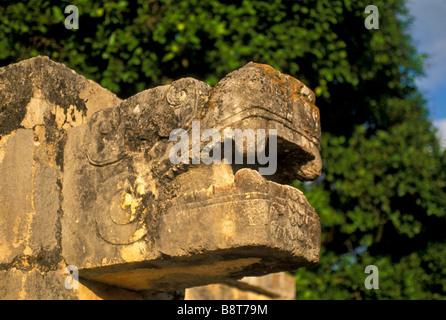 Quetzal Mayan Symbol Stone serpent head clo...