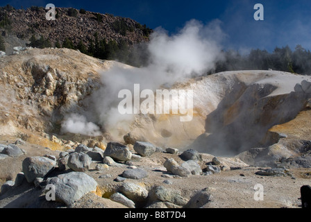 Fumaroles steam vents at Bumpass Hell area in Lassen Volcanic National Park California USA - Stock Photo