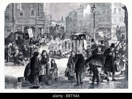 Hard Frost in the Streets of London 1865 engraving of a Victorian Winter scene in a very cold January - Stock Photo