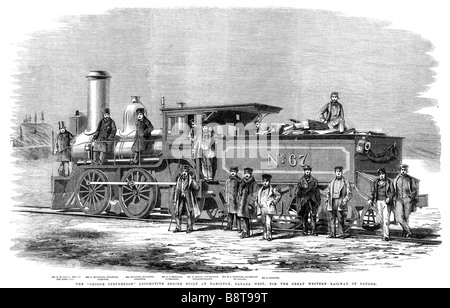 George Stephenson Locomotive Canada 1860 engraving of the new engine built Hamilton Ontario for the Canadian GWR - Stock Photo