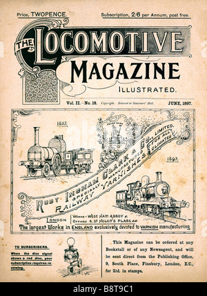 Locomotive Magazine June 1897 cover of the trade magazine for organisations in the railway building business - Stock Photo