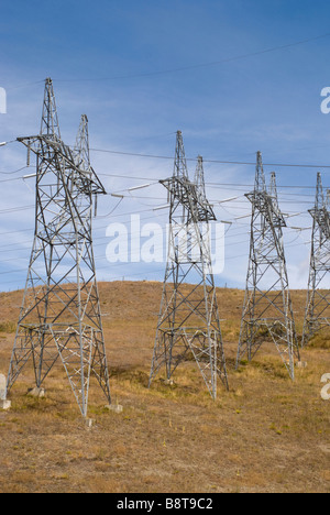 Electricity pylons Upper Waitaki Basin - Stock Photo