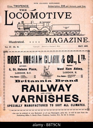 Locomotive Magazine May 1899 cover of the trade magazine for organisations in the railway building business - Stock Photo