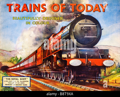 Trains of Today The Royal Scot 1938 book cover with LMS Euston Glasgow express hauled by 6203 Princess Margaret - Stock Photo