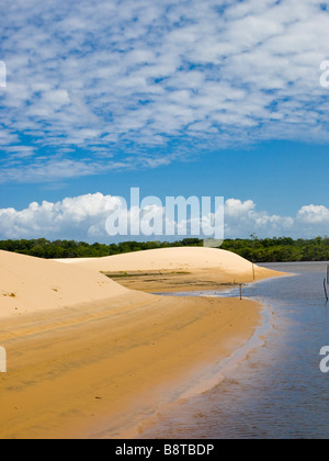 Sand dunes by the Rio Preguiças near Vassouras in the Lençois Maranhenses national park, Maranhao, Brasil. - Stock Photo