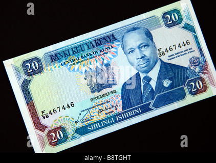 20 Shilling note from Central Bank of Kenya - Stock Photo