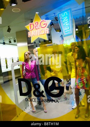 Dolce Gabbana Junior designer fashion store window Piazza di Spagna Roma Lazio Italy - Stock Photo
