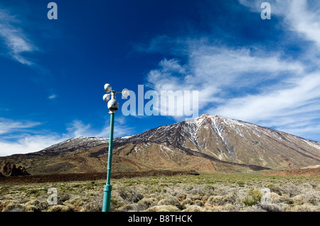 Climate and wind sensor anemometer closely monitors weather in Teide National Park, Mount Teide, Tenerife, Canary - Stock Photo