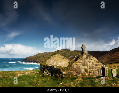 St Helens Oratory at Cape Cornwall. - Stock Photo