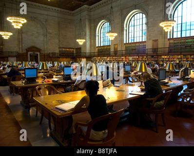 Interior New York Public Library 5th Avenue New York City USA - Stock Photo