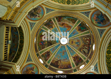 Stunning biblical scene fresco on domed ceiling of Carmelite Monastery of Stella Maris - Stock Photo