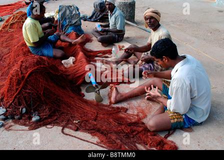 Fisher men of kanyakumari ; India - Stock Photo