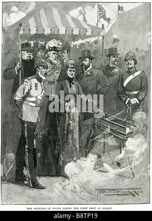 Princess of wales firing first shot Bisley Alexandra of Denmark 1890 Queen Consort to Edward VII - Stock Photo