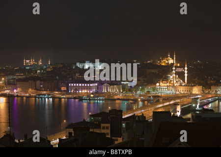 Galata Bridge over Golden Horn and Area of Eminoenue and Sultanahmet Istanbul Turkey - Stock Photo