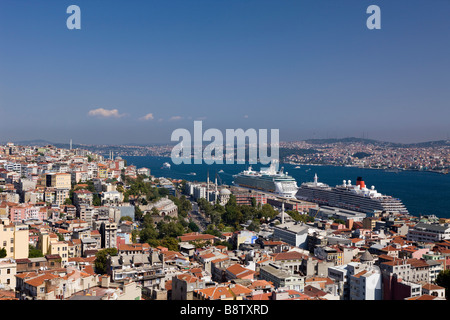 View from Galata Tower to Bosporus and Asien Continent Istanbul Turkey - Stock Photo