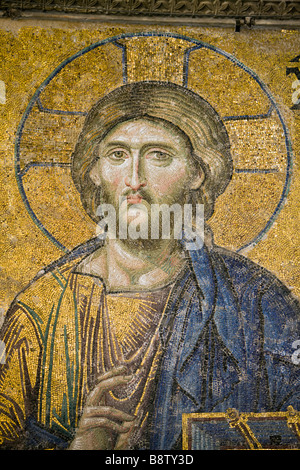 Entreaty Deesis Mosaic at Hagia Sophia Istanbul Turkey - Stock Photo