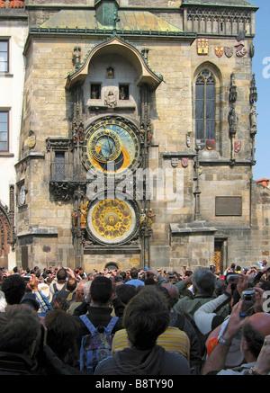 Prague Czech Republic Astronomical Clock Old Town Square - Stock Photo