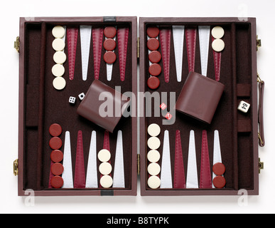 Backgammon Game elevated view - Stock Photo