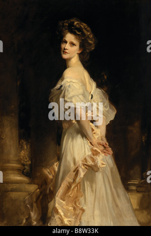 NANCY ASTOR portrait exhibited at the RA in 1909 by John Singer Sargent 1856 1925 from the Hall at Cliveden - Stock Photo
