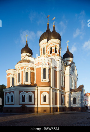 Tallinn, Estonia, Europe. Russian Orthodox Cathedral of Alexander Nevsky in Toompea - Stock Photo