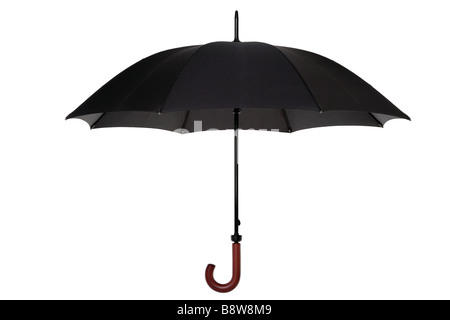 An open black umbrella with wooden handle isolated on a white background - Stock Photo