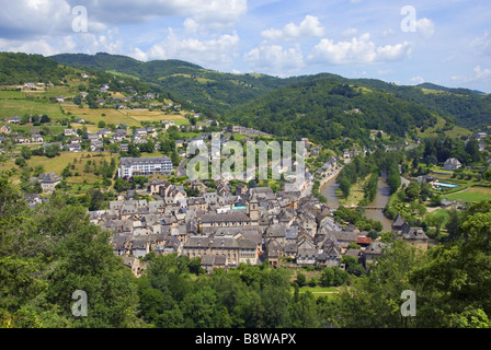 view on the city Entraygues-sur-Truyere in Vallee du Lot, France, Midi-Pyrenees - Stock Photo