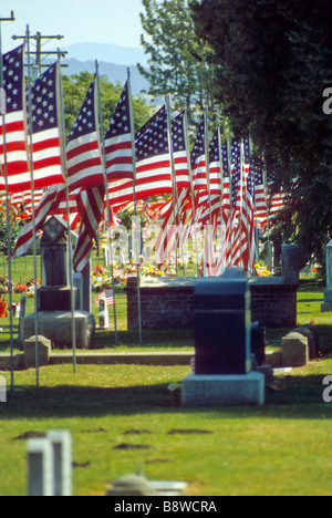American flag fly over grave cemetery marker tomb history historical memory remember honor memorial day banner - Stock Photo