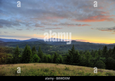 Sunset over Marys Peak in the Coast Range of Oregon Stock Photo