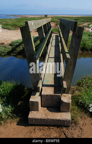 Footbridge, Stiffkey Saltmarshes, Norfolk, England. - Stock Photo