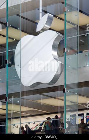 The largest Apple Logo of the world at the Sydney Apple Store. Sydney NSW Australia. - Stock Photo