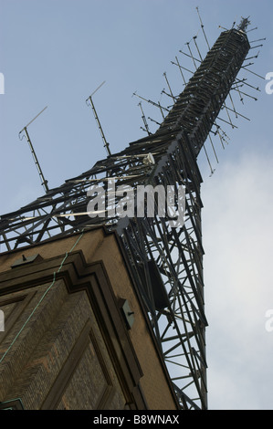 Under view of the transmitter tower on Alexandra  Palace, North London. Site of the first TV transmission. - Stock Photo