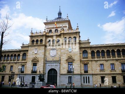 The Academia de Caballeria or Calvary Academy is a popular landmark on the Plaza Zorrilla in Valladolid Spain - Stock Photo