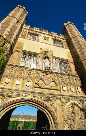 Architectural details on the gate of an educational building The Great Gate Trinity College Cambridge Cambridgeshire - Stock Photo