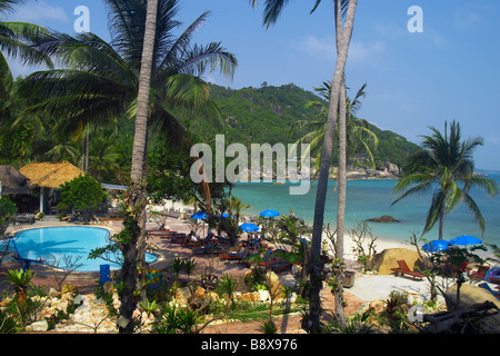 Hotel swimming pool beside the picturesque Samui Yacht Club on Koh Samui - Stock Photo