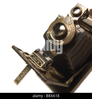 A kodak old fashioned bellowed camera on a white background - Stock Photo