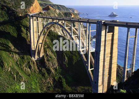 High angle view of an arch bridge, Bixby Creek Arch Bridge, Big Sur, California, USA - Stock Photo